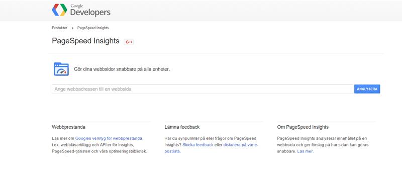 google pageinsights verktyg