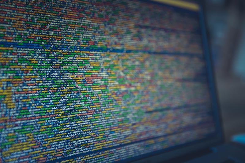 Lång kod på en bärbar dator